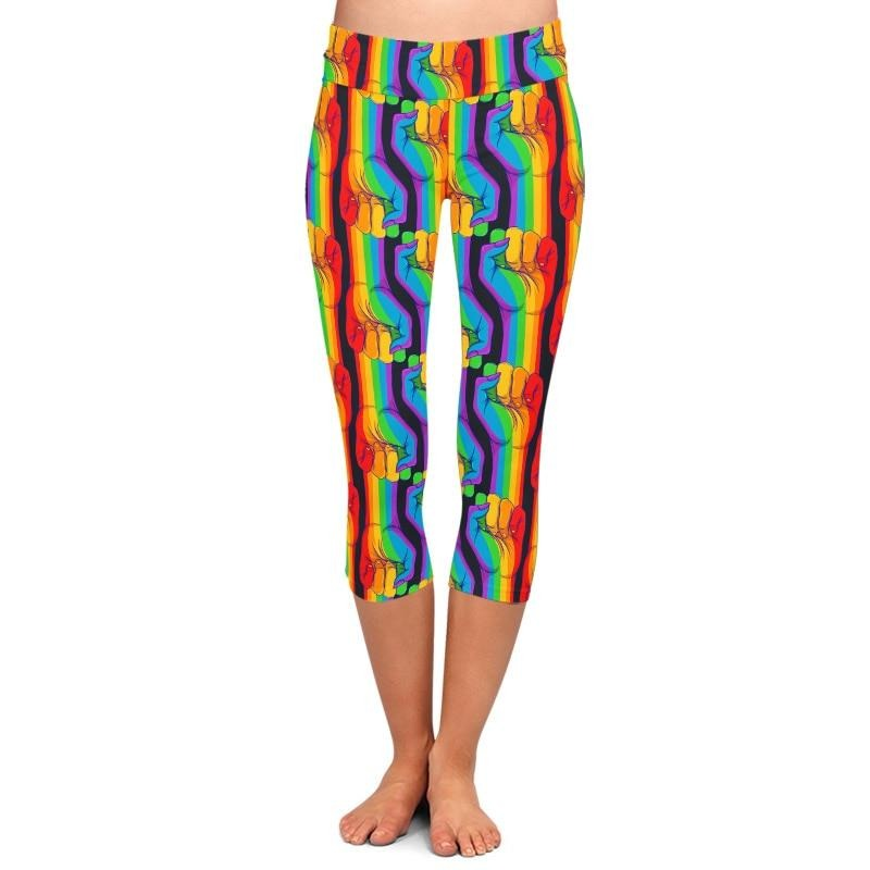Ladies Gorgeous Rainbow Hands Printed Capri Leggings