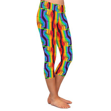 Load image into Gallery viewer, Ladies Gorgeous Rainbow Hands Printed Capri Leggings