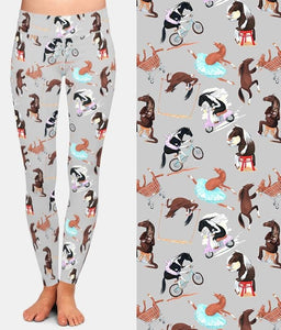 Ladies Fashion Cartoon Funny Horses Printed Leggings