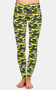 Womens 3D Yellow Camouflage Printed Leggings