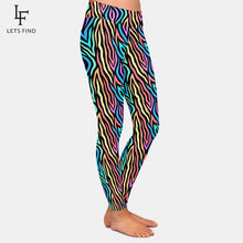 Load image into Gallery viewer, Ladies Colourful Abstract Zebra Patterned Leggings