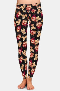 Ladies Cute 3D Bears & Roses Printed Leggings