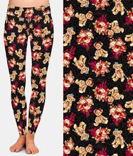 Load image into Gallery viewer, Ladies Cute 3D Bears & Roses Printed Leggings