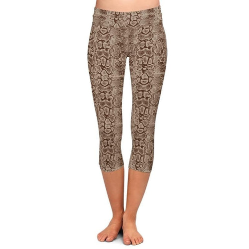 Ladies 3D Snake Skin Printed Capri Leggings