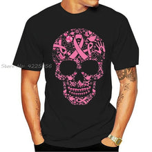 Load image into Gallery viewer, Tattoo Skull Breast Cancer Awareness Printed T-Shirts
