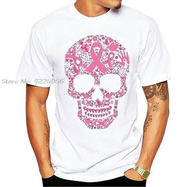 Tattoo Skull Breast Cancer Awareness Printed T-Shirts