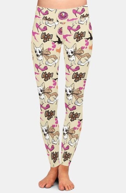 Ladies 3D Dogs and Fashion Items Printed Leggings
