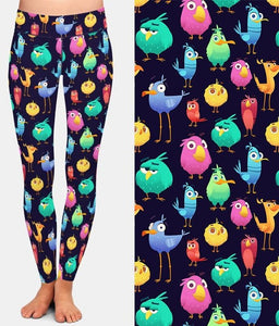 Ladies 3D Cute and Funny Coloured Birds Digital Printed Leggings