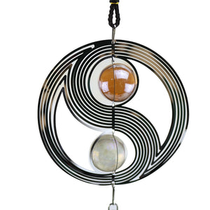 NEW Indoor/Outdoor Yinyang Wind Chime With Crystal Balls Pendant Feature