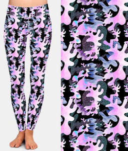 Ladies 3D Pink Camouflage Printed Leggings