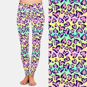 Ladies Colourful Pastel Leopard Hearts Printed Leggings