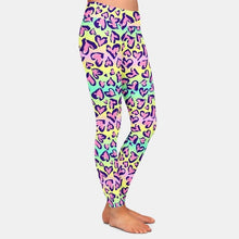 Load image into Gallery viewer, Ladies Colourful Pastel Leopard Hearts Printed Leggings