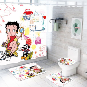 Cartoon Betty Boop Waterproof Bathroom 4 Piece Set