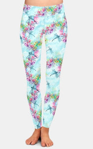 Ladies Dragonflies & Flowers Printed Leggings