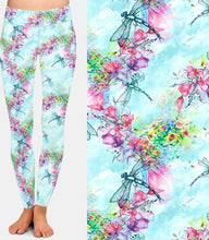 Load image into Gallery viewer, Ladies Dragonflies & Flowers Printed Leggings