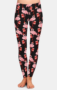 Ladies Gorgeous Christmas Flamingos With Presents, Trees & Santa Hats Leggings