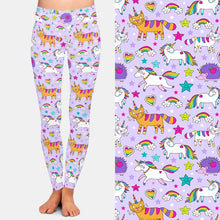 Load image into Gallery viewer, Ladies 3D Cute Unicorns, Hedgehogs & Cats Printed Leggings