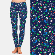 Load image into Gallery viewer, Ladies Blue Owl Doctor/Nurse Printed Leggings