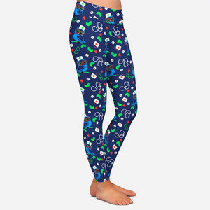 Ladies Blue Owl Doctor/Nurse Printed Leggings