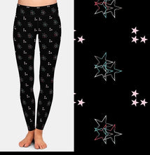 Load image into Gallery viewer, Ladies 3D Christmas Colourful Stars Printed Leggings