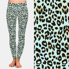 Load image into Gallery viewer, Ladies HOT Blue/Gold 3D Leopard Printed Leggings