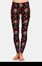Load image into Gallery viewer, Ladies 3D Pop Art Style With Skeleton Heads Printed Leggings