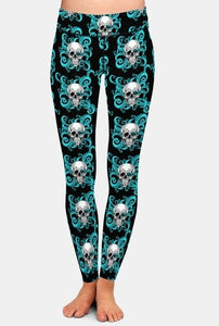 Ladies 3D Pop Art Style With Skeleton Heads Printed Leggings