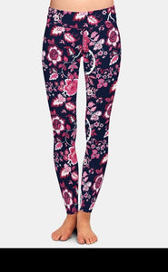 Ladies Beautiful Flowers Design Printed Leggings