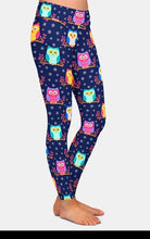 Load image into Gallery viewer, Ladies Cute 3D Colourful Owls Printed Leggings