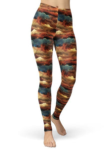 Ladies Assorted Ink Patterned Printed Brushed Leggings