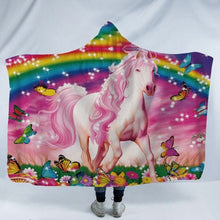 Load image into Gallery viewer, Assorted Rainbow Unicorn Patterned 3D Printed Plush Hooded Blankets