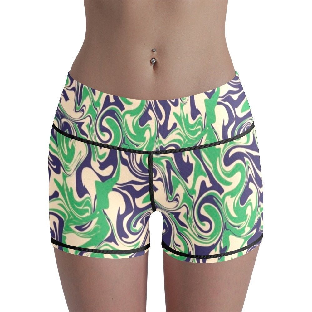 Womens Yoga 3D Printed High Waist Shorts