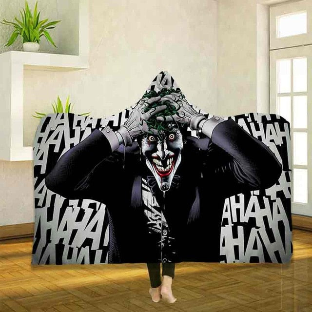 3D Digital Printed Joker Wearable Fleece Hooded Blankets