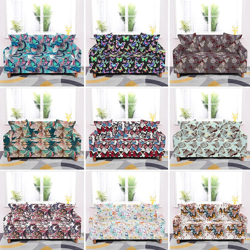 Butterfly Printed Elastic Couch Covers For Sofa