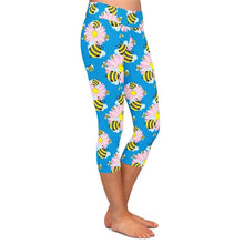 Load image into Gallery viewer, Ladies 3D Cute Bees Stretch Capri Leggings