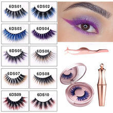 Load image into Gallery viewer, Gorgeous Coloured Magnetic 3D False Eyelashes -  Waterproof With Eyeliner/Tweezers