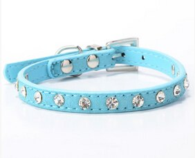Cool Diamond Leather Look Pet Collars