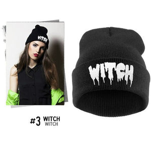 Mens/Womens Hip-Hop WITCH Embroidered Knitted Wool Beanies