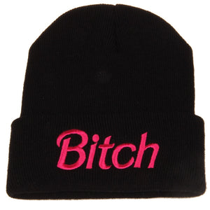 Womens BITCH Embroidered Warm Knitted Beanies