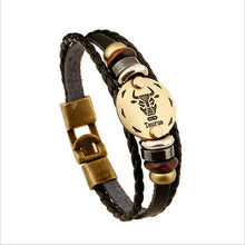 Load image into Gallery viewer, Bronze Alloy Leather Zodiac Bracelet