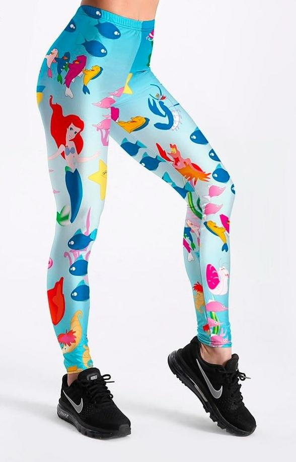 Womens Animated Leggings - Mermaid Print