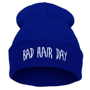 Ladies Fashion Embroidered BAD HAIR DAY Knitted Beanies