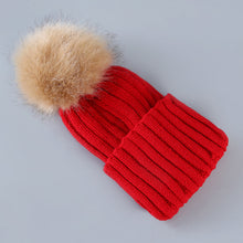 Load image into Gallery viewer, Cute Winter Knitted Hat With Fluffy Fur Pompom