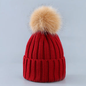Cute Winter Knitted Hat With Fluffy Fur Pompom