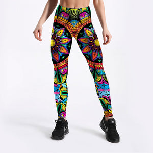 Womens Coloured Floral Mandala Leggings