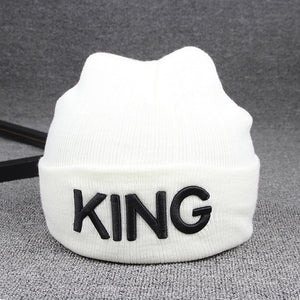 Ladies/Mens KING QUEEN Embroidered Winter Knitted Beanies