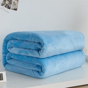 Super Soft Fleece Blanket Light Weight Solid Colours