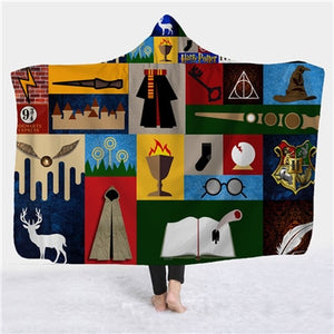 Soft 3D Harry Potter Printed Sherpa Hooded Blankets