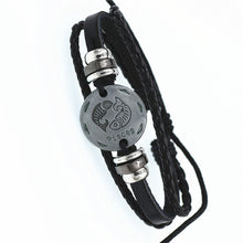Load image into Gallery viewer, Funky Silver Adjustable Leather Fashion Zodiac Bracelet