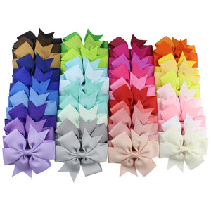 38 Different Girls Solid Coloured Grosgrain Ribbons/Bows Clips